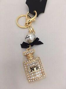 CHANEL No 5 PERFUME BOTTLE Handbag Keyring Diamante Rhinestone Charm Bling - NEW