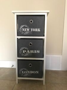 3 Drawer Wood and Canvas Storage Unit