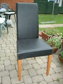 SIX BLACK DINING ROOM CHAIRS - SET OF SIX IDENTICAL CHAIRS