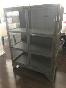 Metal Display Cabinet with Glass Panels