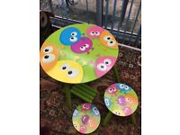 Child Wooden Table and chairs - with painted design