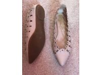 Off white/ beige leather Firetrap flats size 7