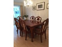 Rectangular Dark wood polished dining table 6 chairs inc 2 carvers extends to seat 8-10