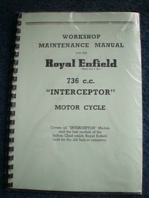Royal Enfield Interceptor 736cc Workshop Manual 1962-67 Factory Copy REW18