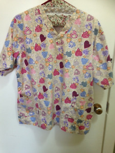 9 Scrub tops, 3 bottoms. Plus size , used but in great shape