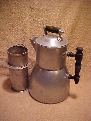 Antique Wearever Aluminum 6-8(?) Cup Stove Top Coffee or Tea Pot w/Diffuser 1902