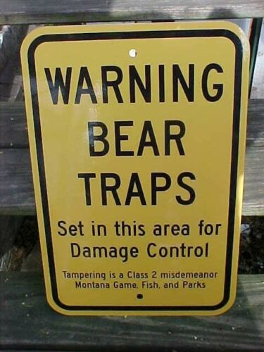"""Warning Bear Traps Montana Vintage heavy Metal Sign 12"""" x 18"""" old stock"""