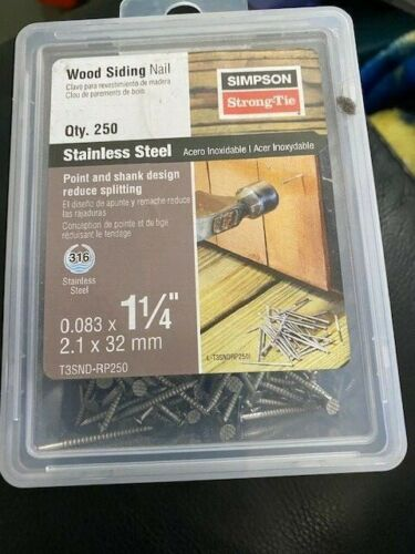 "Simpson Strong-Tie Wood Siding Nail 1-1/4"" 250ct Stainless Steel New!"