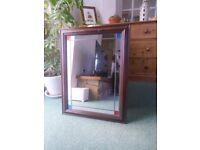 dark solid wood mirror,coloured corners