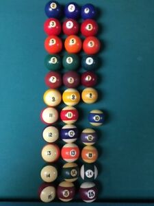 assorted billard pool table balls (different weight, size, type)
