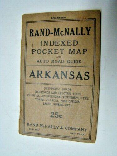 1917 Arkansas Rand-McNally Indexed Pocket Map & Auto Road Guide Booklet ~ No Map