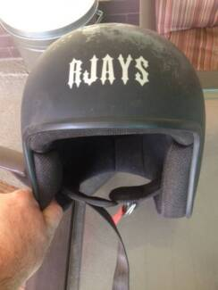 RJays matt black open face skull helmet Woodville Charles Sturt Area Preview
