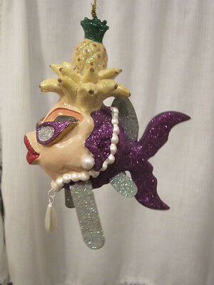 Cabana Banana Collection - Katherine's Collection Purple Cabana Girl w/Bananas Pineapple Fish Ornament - EC