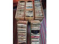 "Five job lot bundles of 7"" single vinyl records. Including custom built storage boxes."