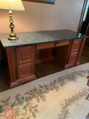 Custom Built Cherry Executive Desk - Granite Top Great Condition