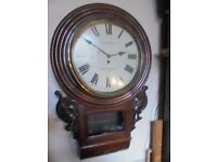 large fusee rosewood wall clock
