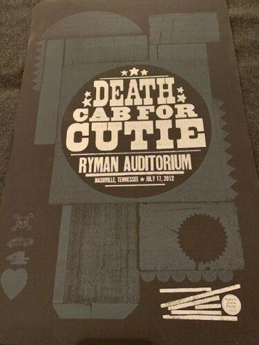 Death Cab For Cutie HATCH SHOW PRINT POSTER 7/17/2012 Ryman Auditorium Nashville