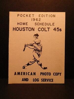 Original 1962 HOUSTON COLT 45s pocket edition Home Schedule-baseball team