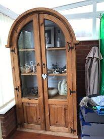 Pine curved glass dresser