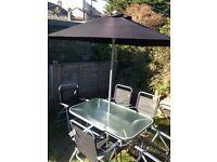 Garden Table, Chairs & Umbrella