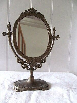 A LOVELY  VINTAGE SOLID BRASS ORNATE DRESSING TABLE ,VANITY MIRROR VGC