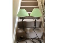 Pair of grey metal table lamps with green shades. Collect from Fulham