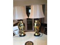 Two large table lamps in black and gold immaculate