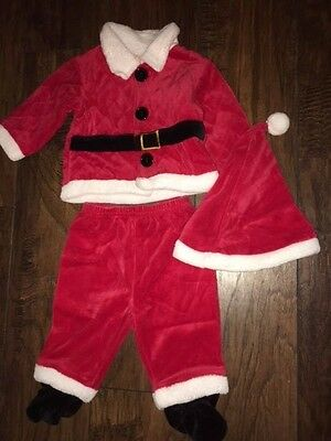 3 6 m Nursery Rhyme Santa outfit red EUC 3 pc top pants hat Christmas black