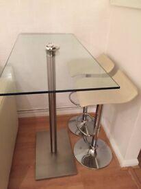 Dwell Glass Breakfast Bar Table & 2 Cream Stools £100.00