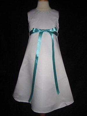 WHITE IVORY WEDDING FLOWER GIRL DRESS WITH SPA TIFFANY BLUE SASH 3T](White Flower Girl Dresses With Sash)
