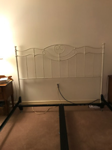 White Provencal King Metal Headboard and Bed Frame