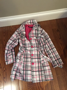 SIZE 8: GIRLS TRENCH COAT WITH HOOD:   WORN ONCE