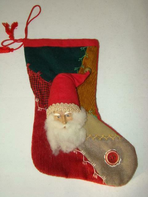 Vintage Hand Made Composition CHRISTMAS SANTA Face Stocking Decoration