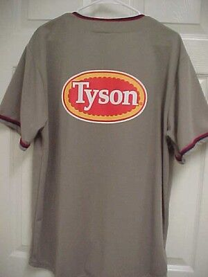 Tyson Foods Naturals Chicken Men Brown Button Front Baseball Jersey Xl Coyote