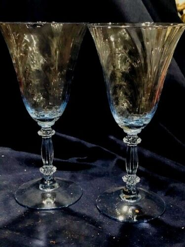 CAMBRIDGE CAPRICE MOONLIGHT BLUE 2 WINE GOBLETS 7 3/4 IN