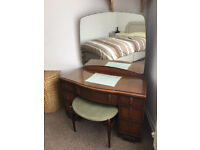 Vintage Solid Wood (Oak?) Dressing Table (Mid-20th C. by Elliotts of Newbury)