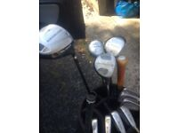 Golf clubs Ben Sayer irons Northwestern 10.5 driver and 5,7,9 woods bag trolley putter