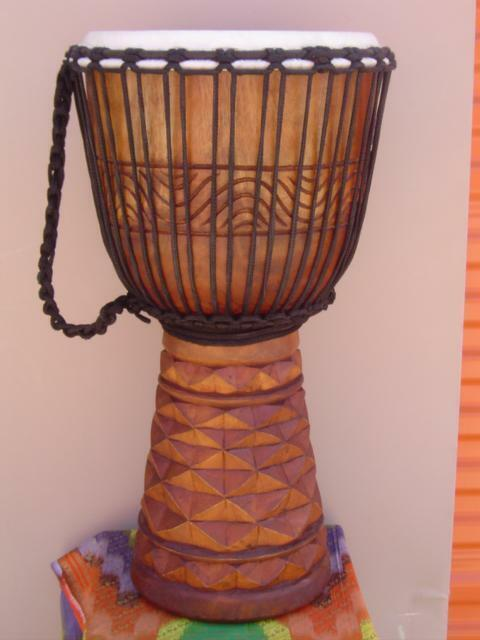 "SALE! LARGE Handmade 24"" DEEP CARVED DJEMBE DRUM BONGO M2, FREE HEAD COVER"