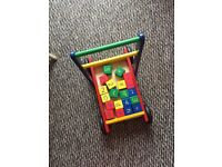 Baby Toddler Walker Solid Wood with Blocks