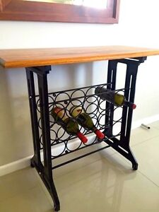 WINE RACK WITH SINGER SEWING MACHINE SIDES AND ROSEWOOD TOP Labrador Gold Coast City Preview