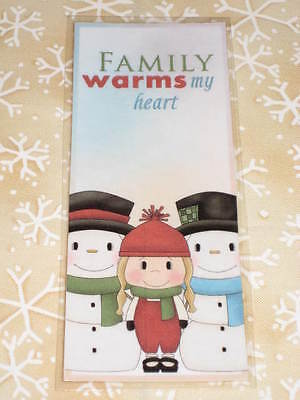 PRIMITIVE CHRISTMAS WINTER LAMINATED BOOKMARK SNOWMAN FAMILY WARMS HEART cl12-5