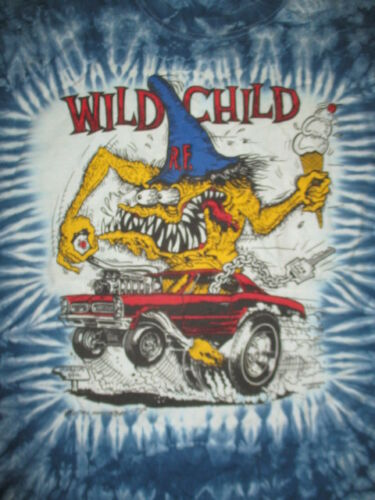"Vintage 1990 WILD CHILD R.F. RAT FINK Ed ""Big Daddy"" Roth (XL) Tie Dye T-Shirt"