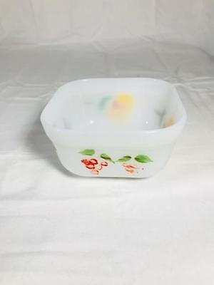 Vintage Fire king # 4 Milk Glass Hand Painted 4 Inch Square Bowl
