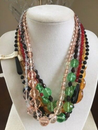 Vintage Czech Glass Bead Necklace Multi Color Mardi Gras Throw Beads Lot of 6