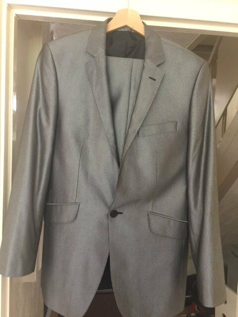 "Robert simon suit (2 pieces) dark grey size 36"""