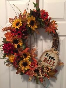 Beautiful Fall Wreath and Door Basket Arrangement