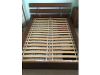 Ikea Malm double bed frame in Brown ash veneer