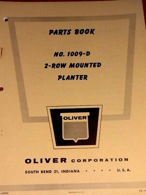 Oliver Parts Book No.1009-d 2-row Mounted Planter