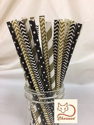 Charmed Black and gold vintage theme paper straws (Gold And Black Theme)