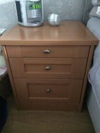 Solid beech chest of drawers, bedside cabinets
